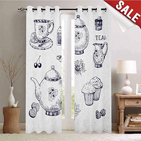 Amazon.com: Blue and White Gromets Curtain Decoration ...