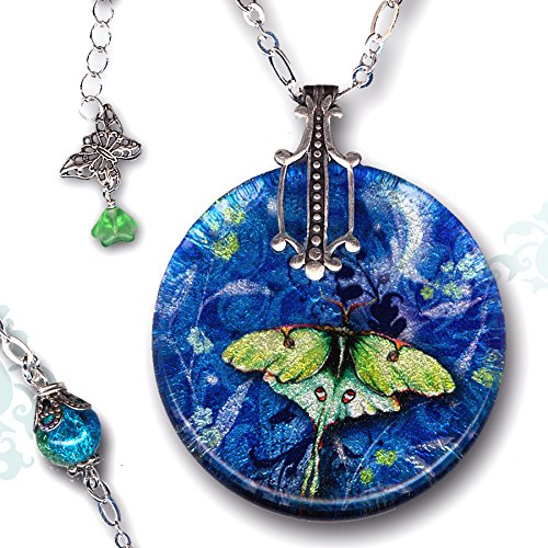 Luna Wings Collection (Petite Luna Moth Necklace - Reversible Glass Art Necklace - Nouveau Jardin Collection - Petite Luna Night Wing)