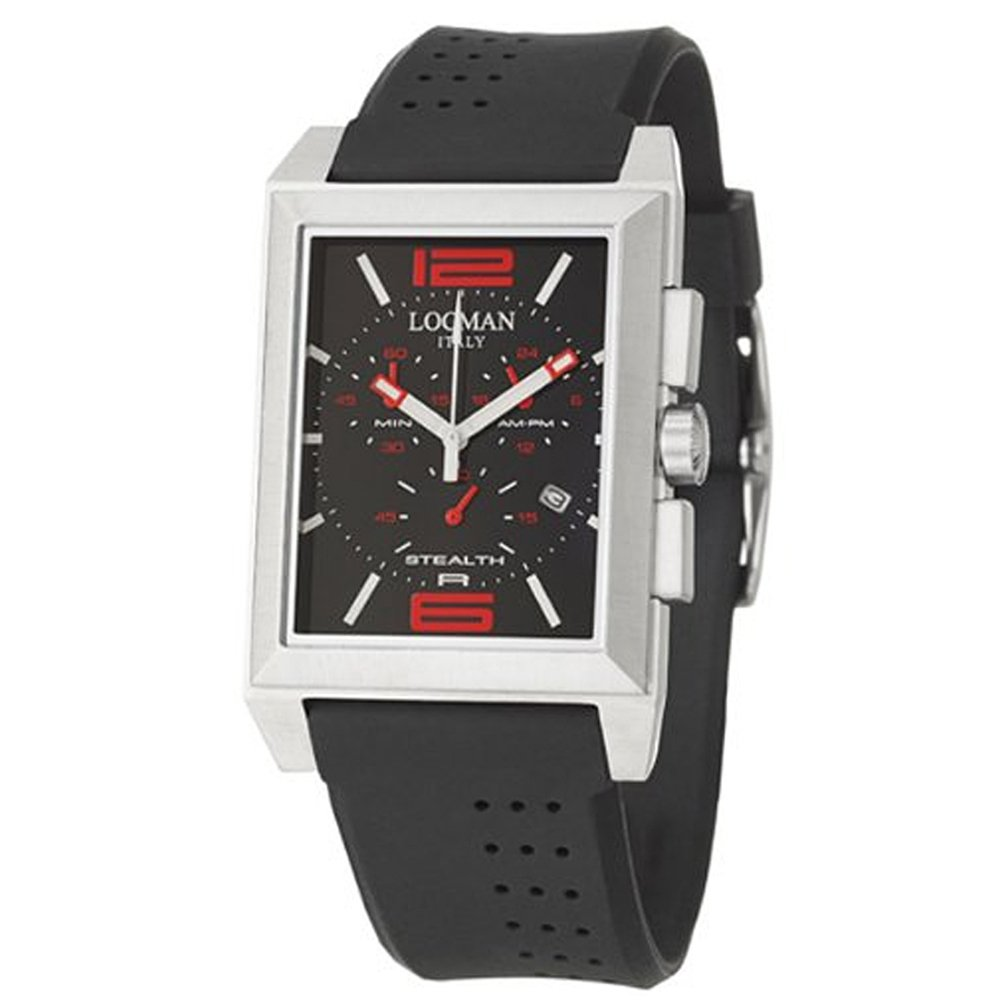 Amazon.com: Locman Sport Stealth Rectangular Men's Quartz Watch 242BKRD1BK:  Locman: Watches