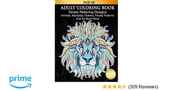 Amazon.com: Adult Coloring Book : Stress Relieving Designs Animals ...