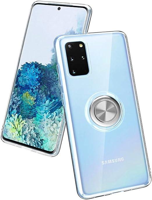 Coque Samsung Galaxy S20, Relime en silicone TPU souple et transparent - Coque fine anti-rayures et résistante aux chocs avec anneau de support ...