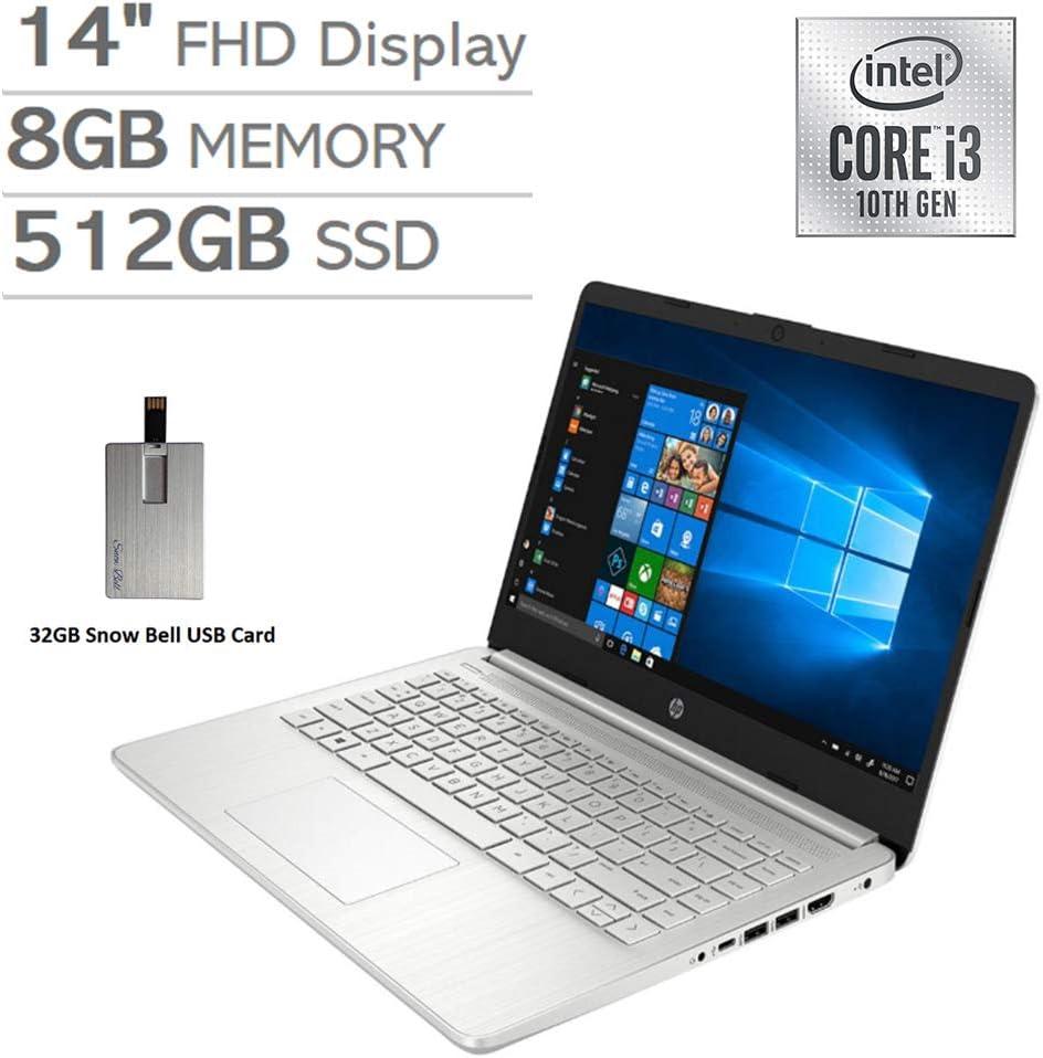 "2020 HP 14"" FHD Display Laptop Computer, 10th Gen Intel Core i3-1005G1 Processor, 8GB RAM, 512GB PCIe SSD, Backlit Keyboard, HD Webcam, HD Audio, HDMI, Windows 10 S, Silver, 32GB Snow Bell USB Card"