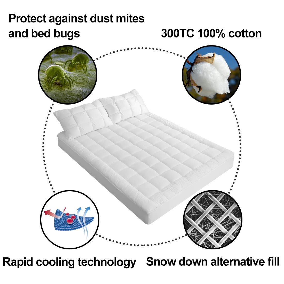 Mattress Pad Cover Cooling Topper Cotton Pillow Top Snow Down Alternative Fill