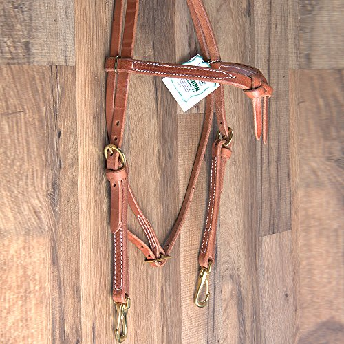 HILASON Hermann Oak Leather Laced Cheeks Horse Knotted BROWBAND Headstall ()