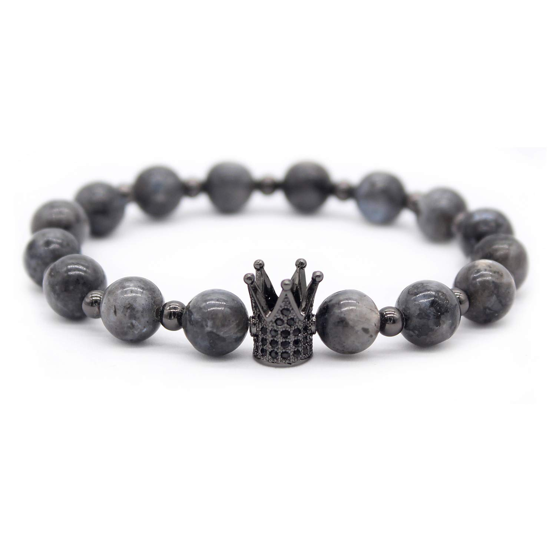 7.6+7.2 Gemfeel 8mm Black Onyx Stone /& Pink Quartz CZ Her King//His Queen 8mm Beads Couple Bracelet Black/&Pink