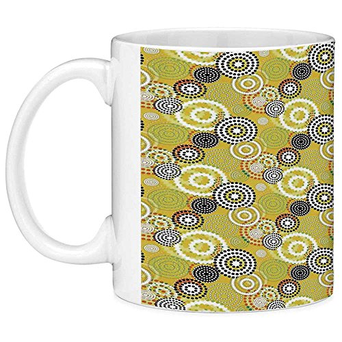 Lead Free Ceramic Coffee Mug Tea Cup White Geometric Decor 11 Ounces Funny Coffee Mug Retro Unusual Psychedelic Ring Shaped Dots and Spots in Various Colors Image Mustard -