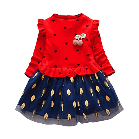 2-3 Years Girl Dresses Onsale Toddler Kid Baby Girl Long Sleeve Stripe Party Princess Dress Clothing Red Dresses For Baby Girls