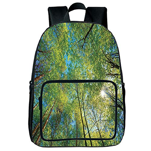 """Price comparison product image iPrint Vogue Pressure Relief Spine Bag, Forest Home Decor, Evergreen Back Nature Area Mother Earth Lime Trunk Mangrove Flora Willow Decor, Green, for Children, 3D Print Design.15.7""""x 11.8""""x 6.3"""""""