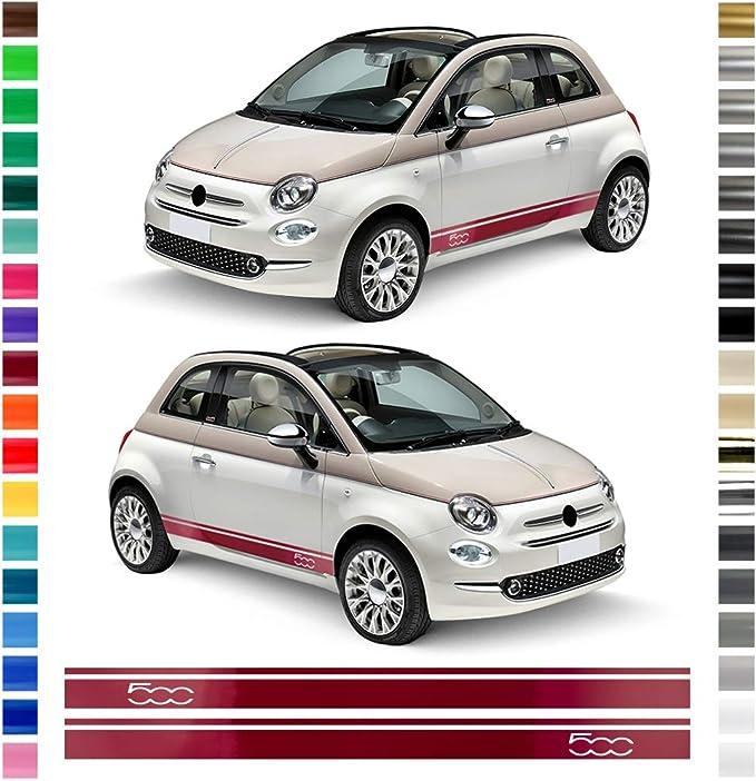 Auto Dress Seiten Streifen Aufkleber Set Dekor Passend Für Fiat 500 In Wunschfarbe Farbwunsch Auto