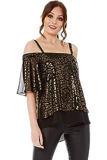 ed4a831330da2 Roman Originals Women s Cold Shoulder Leopard Top - Ladies Christmas Party  Glamorous Foil Animal Print Chiffon