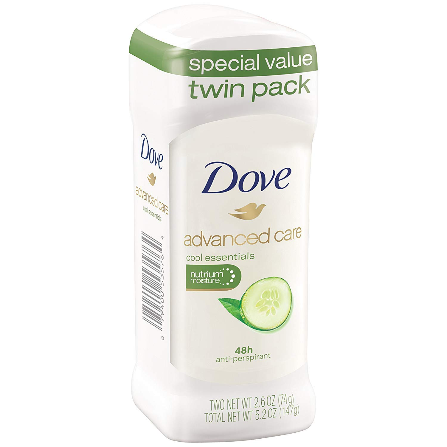 Dove go fresh Antiperspirant Deodorant, Cool Essentials 2.6 oz, Twin Pack