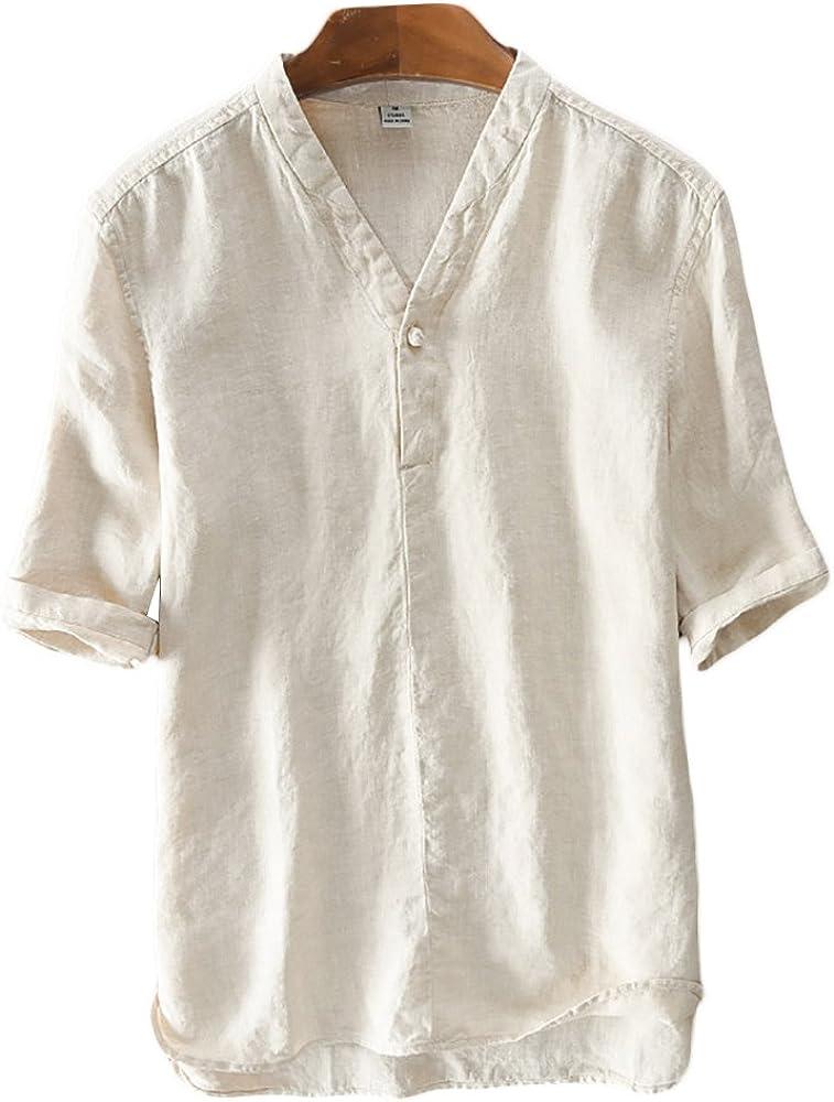 Icegrey Hombre Camisa De Lino De Manga Corta Casual T-Shirt Camisas De Verano con Cuello V Amarillo 42: Amazon.es: Ropa y accesorios