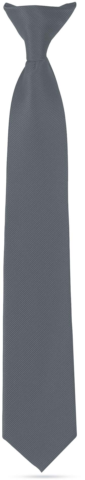 Ties For Boys - Clip On Tie Woven Boys Ties: Neckties For Kids Formal Wedding Graduation School Uniforms (Grey) by LUTHER PIKE SEATTLE