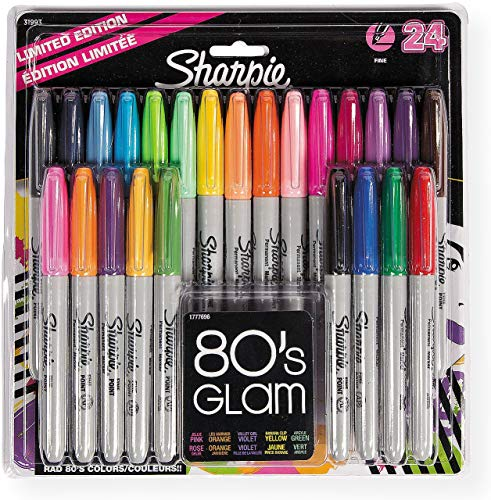 Sharpie Permanent Markers, Fine Point; Resists Both Fading and Water; Marks on Paper, Plastic, Metal, and Most Other Surfaces; Assorted Colors; 1 Blister Pack of 24 Markers (31993PP) ()