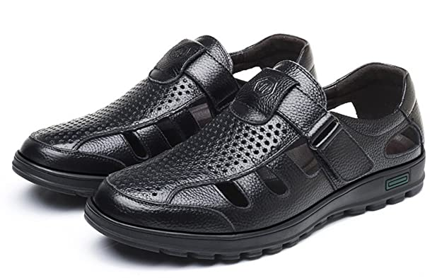 7e49809a9d92 respeedime Summer Men s Leather Sandals Middle-Aged Hollow Daddy Cool  Breathable Hole Shoes  Amazon.co.uk  Shoes   Bags