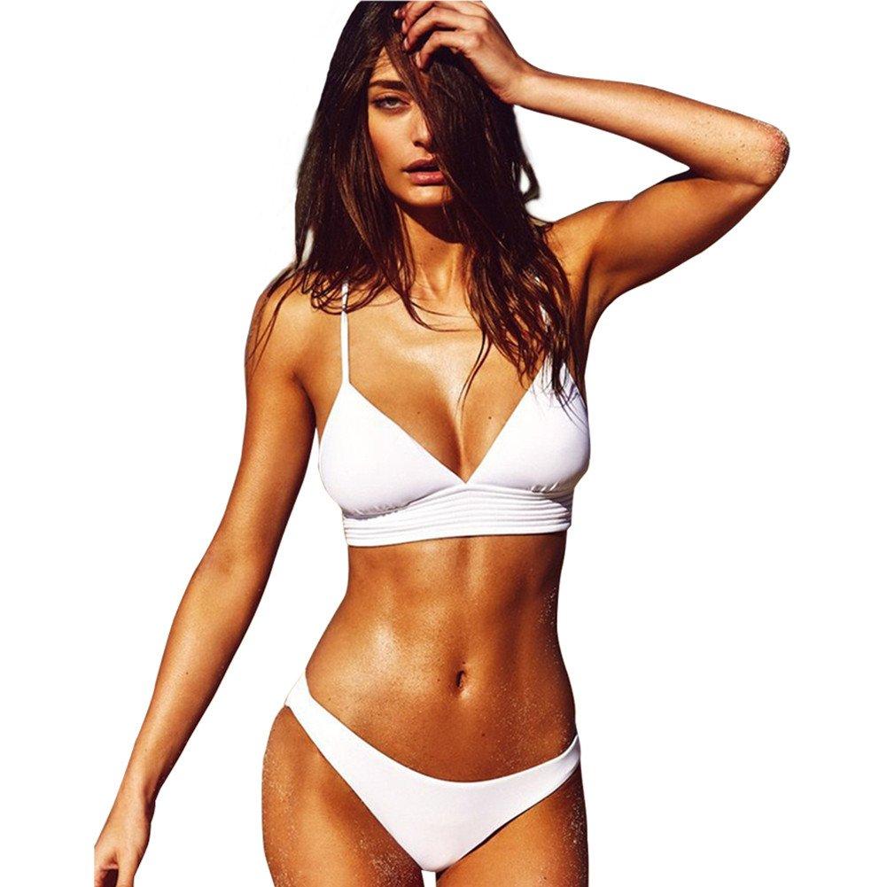 Belong U Women's Ladies Sexy Swimsuit Bikini Sets Beach Swimwear Bathing Suit Brazilian Padded Top Solid Color Triangle (White, XL)