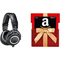 Audio Technica ATH-M50X On-Ear 3.5mm Wired Professional Headphones (Black) + $30 Gift Card