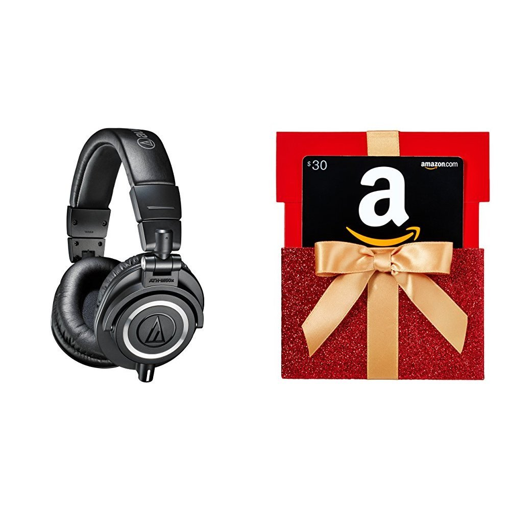 Audio-Technica ATH-M50x Professional Monitor Headphones with $30 Amazon.com Gift Card