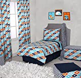 Bacati Liam Aztec 4 Piece Toddler Bedding Set, Aqua/Orange/Navy