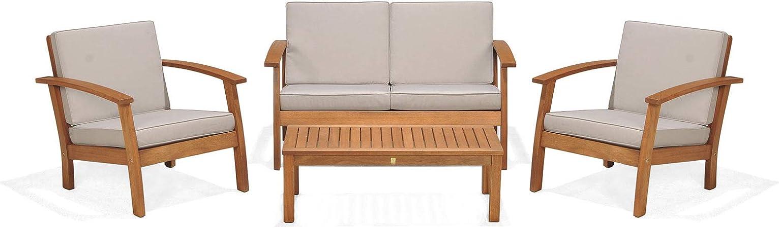 KINGSBURY 50021001115524 - Conjunto sofá de jardín 2 plazas, 2 ...