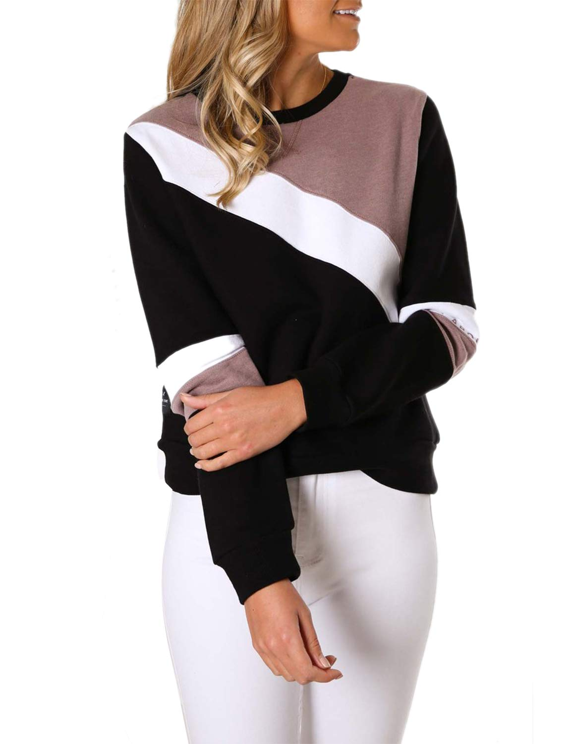 BMJL Women's Soft Blouse Color Block Pullover Casual Top Round Neck Sweatshirt