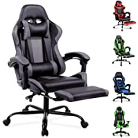 ALFORDSON Gaming Racing Chair Executive Sport Office Chair with Footrest PU Leather Armrest Headrest Home Chair in Grey…