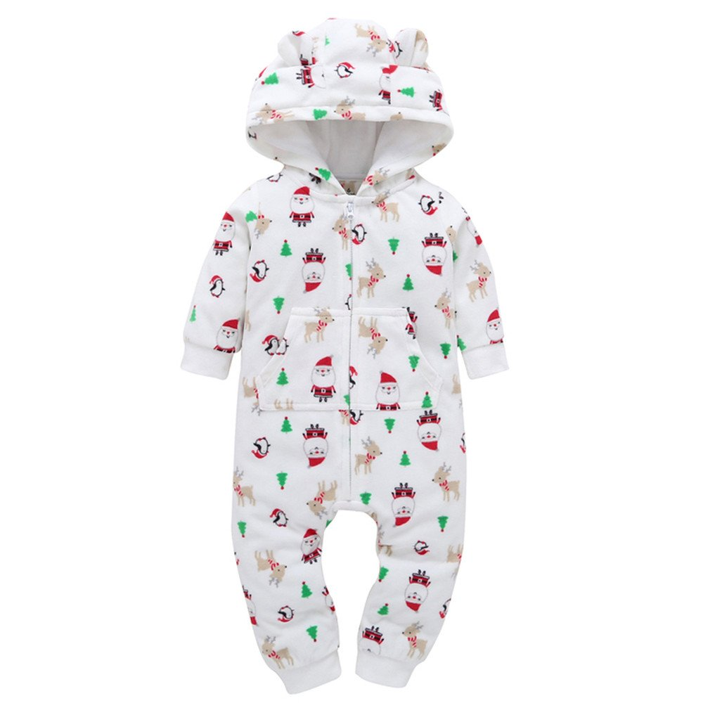 Gusspower Abrigos Monos bebé,Ropa cálido Invierno bebé niñas Conjunto Gruesa y cálida Manga Larga Bodies Bebé Estampado de Copo de Nieve Otoño Invierno