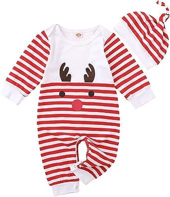 OPAWO Newborn Baby My First Christmas Pjs Girls Boys Long Sleeve Romper 0-18 Months