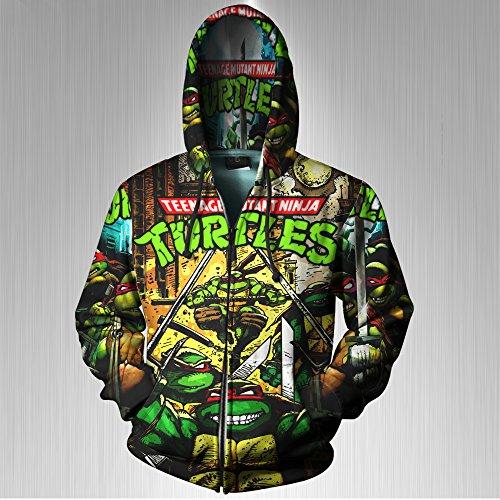 Teenage Mutant Ninja Turtles Classic Green Print Sublimation Men Zipper Hoodie sizes: S to 3XL