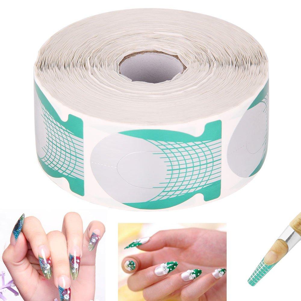AllRight Rouleau de 500 Pcs Ongles Guidage Autocollants Nail Art Sticker Extension Formulaires Acrylique pour Manucure UV Gel Vert