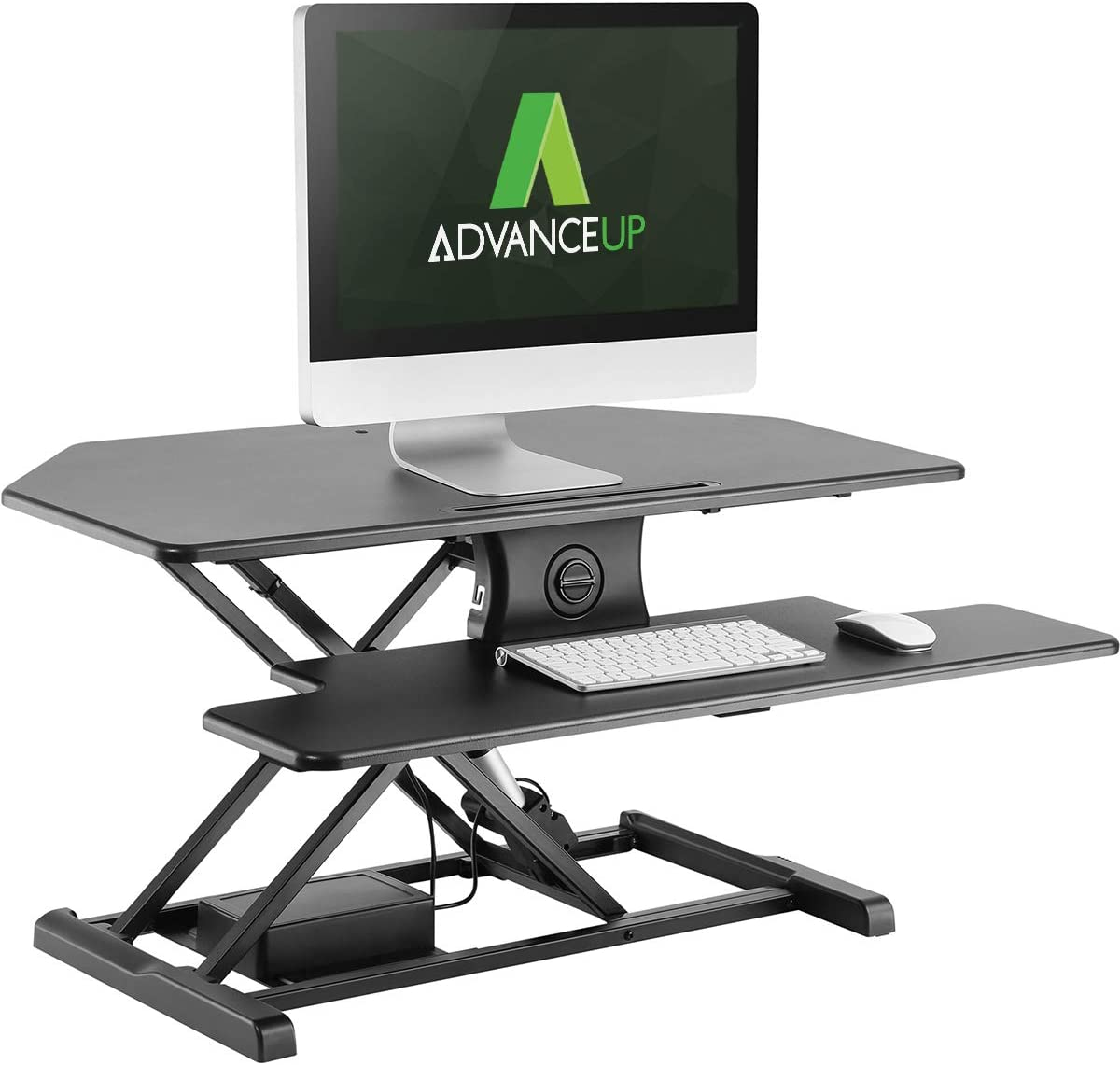"""AdvanceUp 37.4"""" 2-Tier Electric Ergonomic Corner Standing Desk Converter Riser, Motorized Height Adjustable Stand Up Workstation, 44lbs Capacity   Great for Offices & Cubicles with Dual Monitors"""