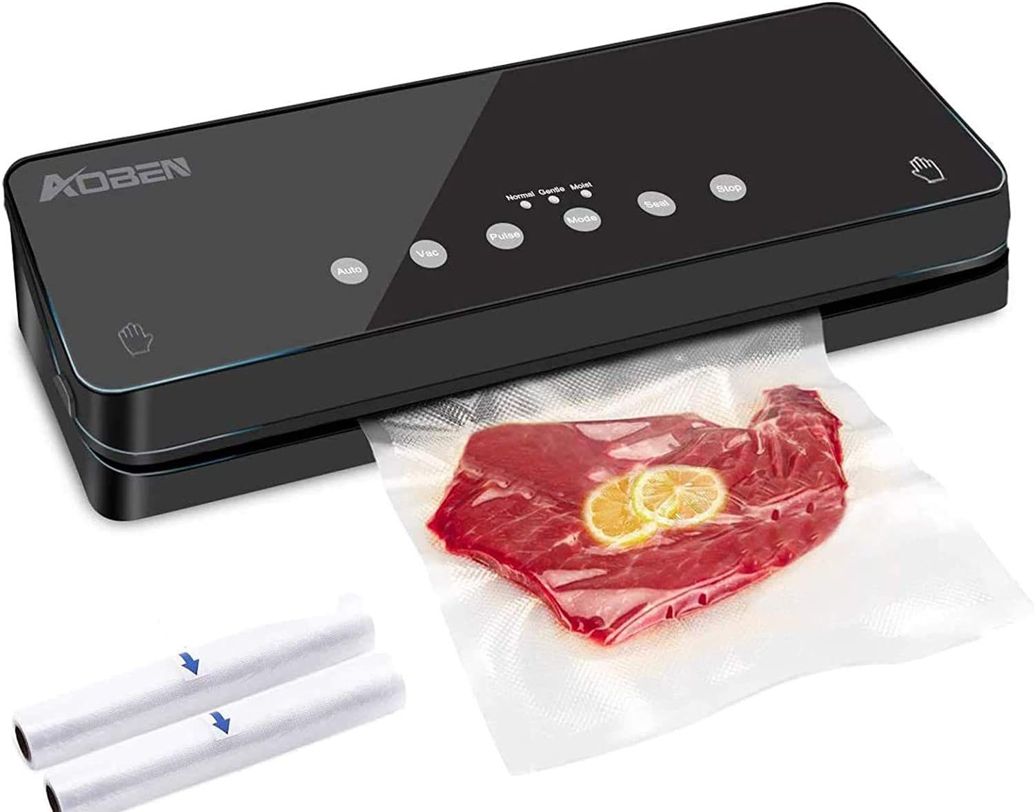 AOBEN Vacuum Sealer Machine,Automatic Food Sealer for Food Savers w/Starter Kit|Dry & Soft & Moist Food Modes|Led Indicator Lights|Separated Design Easy to Clean| Compact Design