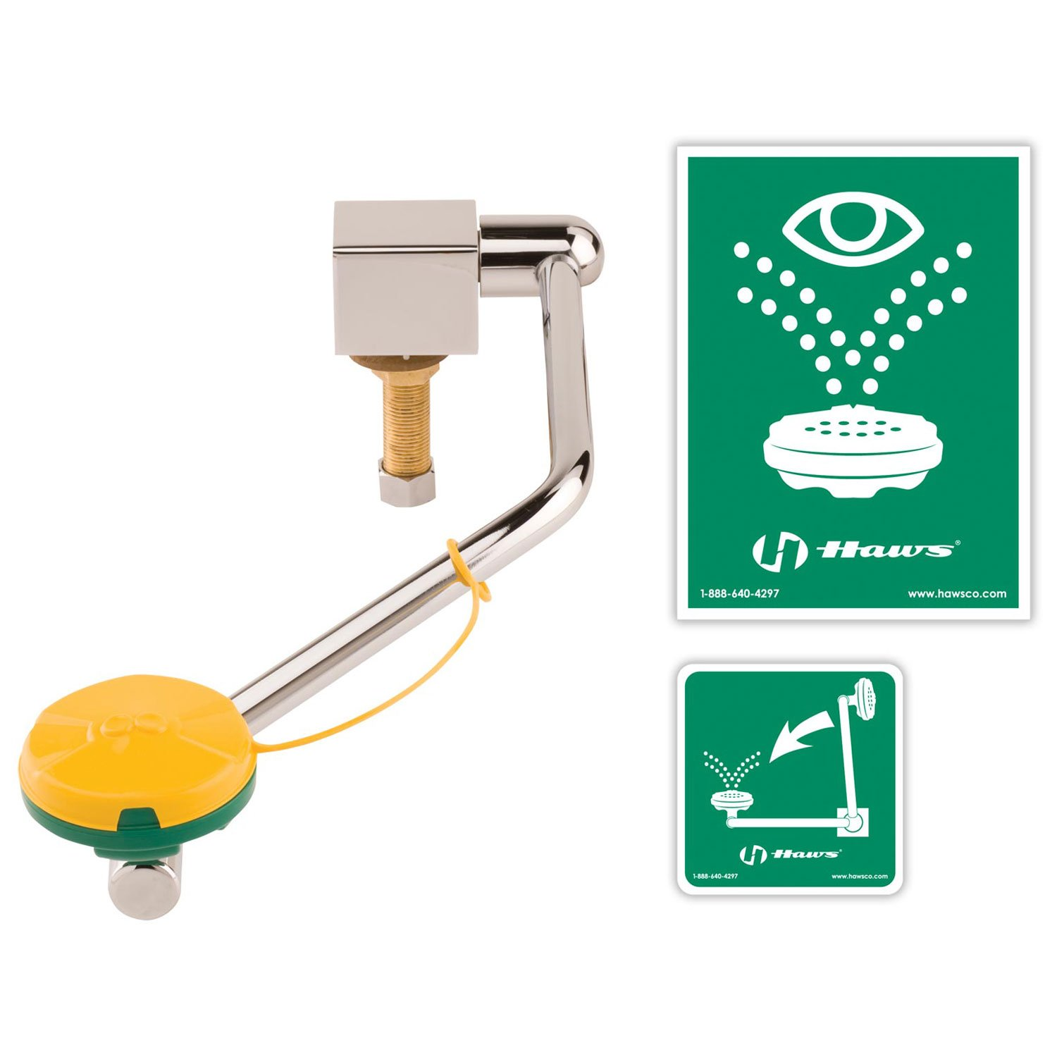 Haws Barrier-Free Single Action Swing-Down Eye/Face Wash, Counter Top, Mounted On Rear Of Sink