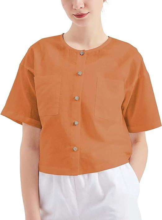 MEOMUA Women's Linen Blouses Button Down Short Shirt Cutie Summer Tops