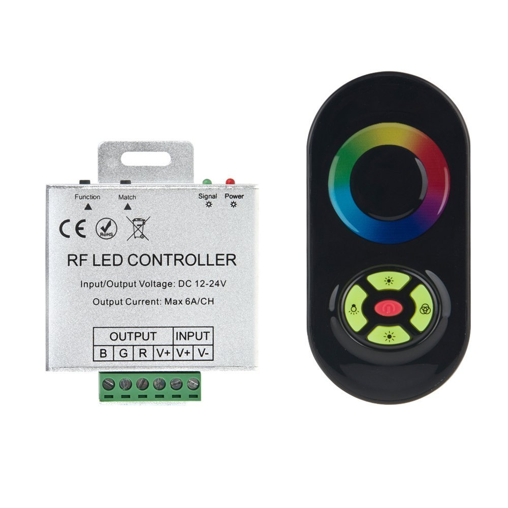 HERO-LED Wireless RGB Touch Color Ring Controller with RF Remote, 12-24V DC, 6A3CH, Used to Control RGB Multicolored LED Strip Lights.