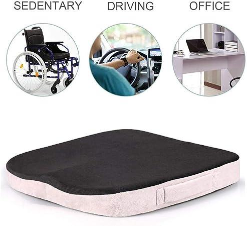 in tinta unita per sedile dell/'auto antiscivolo Nero sedia da ufficio portatile sollievo dalla pressione comodo Cuscino per sedia in schiuma a memoria di forma