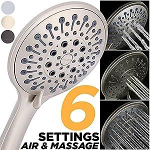 Massage Shower Head Best Handheld Shower Massage High Pressure Spray Hand Held Multi Function Detachable Shower Wand, High Flow 2.5 GPM Jet Adjustable Brushed Nickel Shower Sprayer (HAND SHOWER ONLY)
