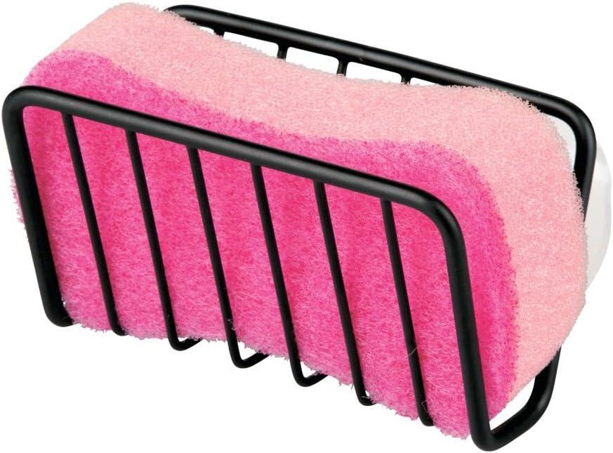 Ideal para esponjas y estropajos gris grafito Guarda estropajos para la cocina mDesign Portaestropajos para fregadero Porta utensilios de cocina de aluminio inoxidable