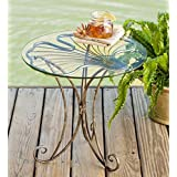 Metal and Glass Ginkgo Leaf Side Table