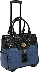 """The Oceanside"" Blue & Black Alligator Compatible With Computer iPad, Laptop Tablet Rolling Tote Bag Briefcase Carryall Bag"