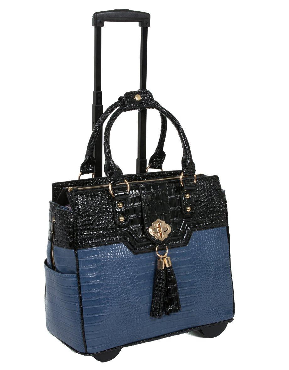 The Oceanside Blue & Black Alligator Faux Leather Computer iPad, Laptop Tablet Rolling Tote Bag Briefcase Carryall Bag JKM 21125