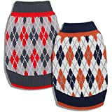 Blueberry Pet Pack of 1 12-Inch Back Length Chic Argyle All Over Dog Sweater in Midnight Blue and Dark Princeton Orange