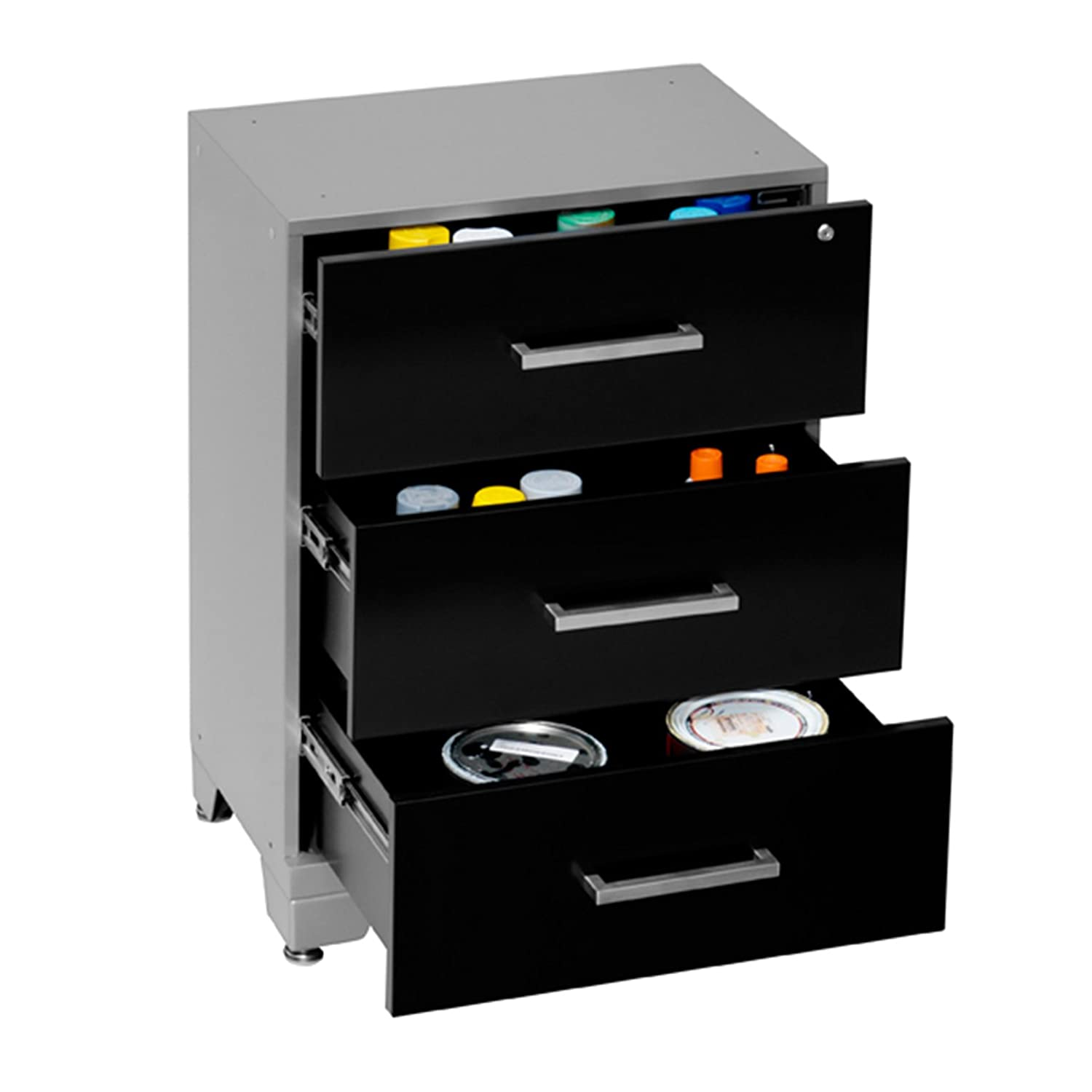 30 by 24 by 16 Black 30 by 24 by 16 NewAge Products Inc 36005 NewAge Products Performance Series Three Drawer Tool Cabinet
