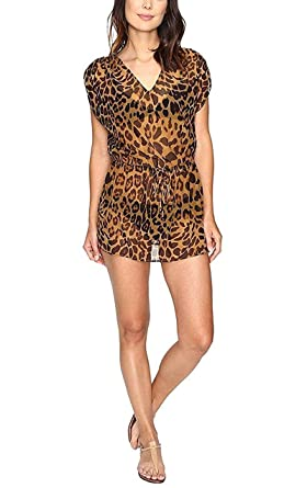 35f8b81a66f60 Lauren Ralph Lauren Women's Leopard Sheer Tunic Swimwear Cover-Up (Brown, X-
