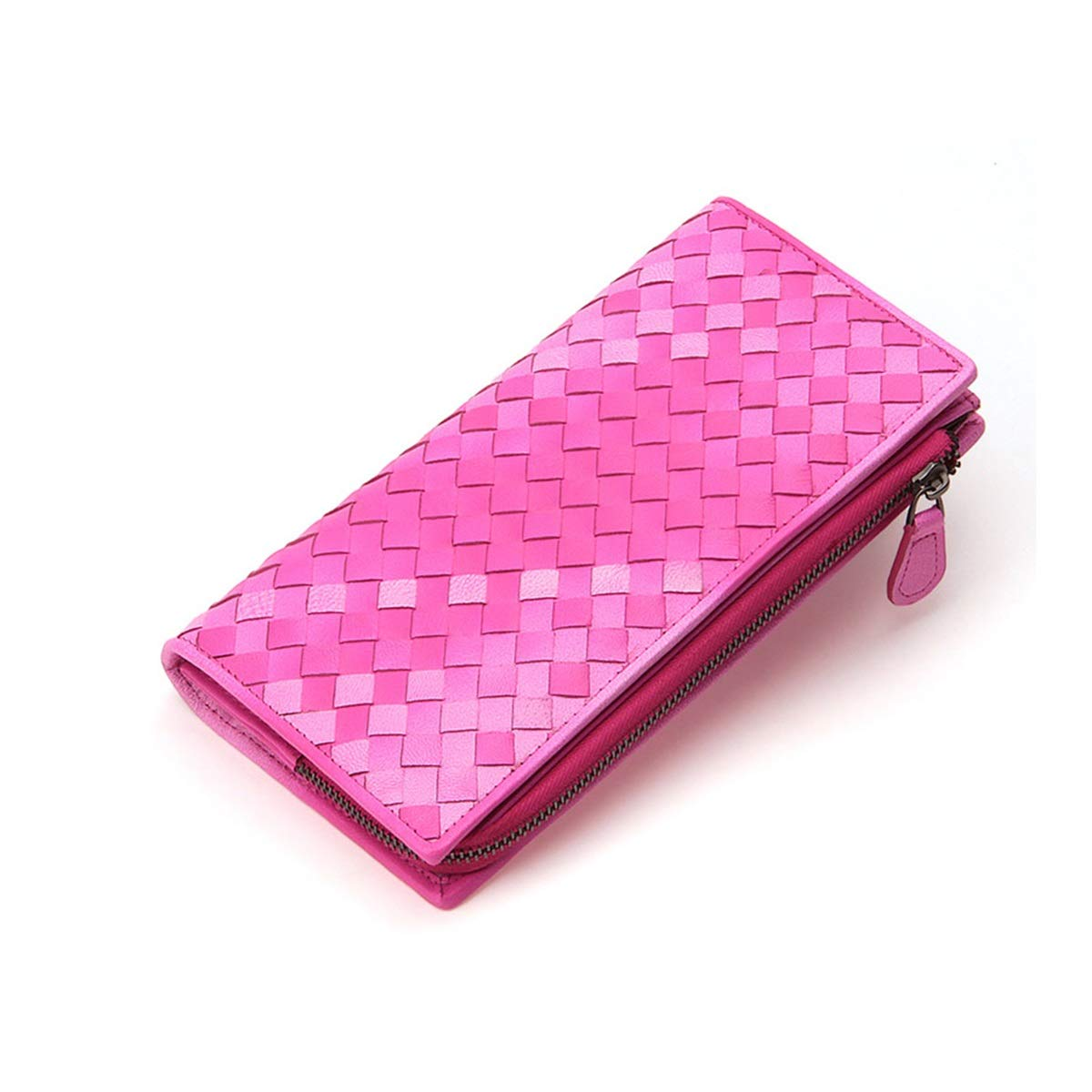 Xingganglengyin Leather Woven Wallet Ladies Thin Zipper Handbags Card Package one Package Long Wallet Womens Multi-Card Card Sets Color : Purple
