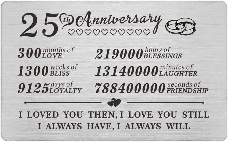 25th 25 Year Wedding Anniversary Steel Gifts Wallet Card Decorations for Husband Men Him Her Wife Couples