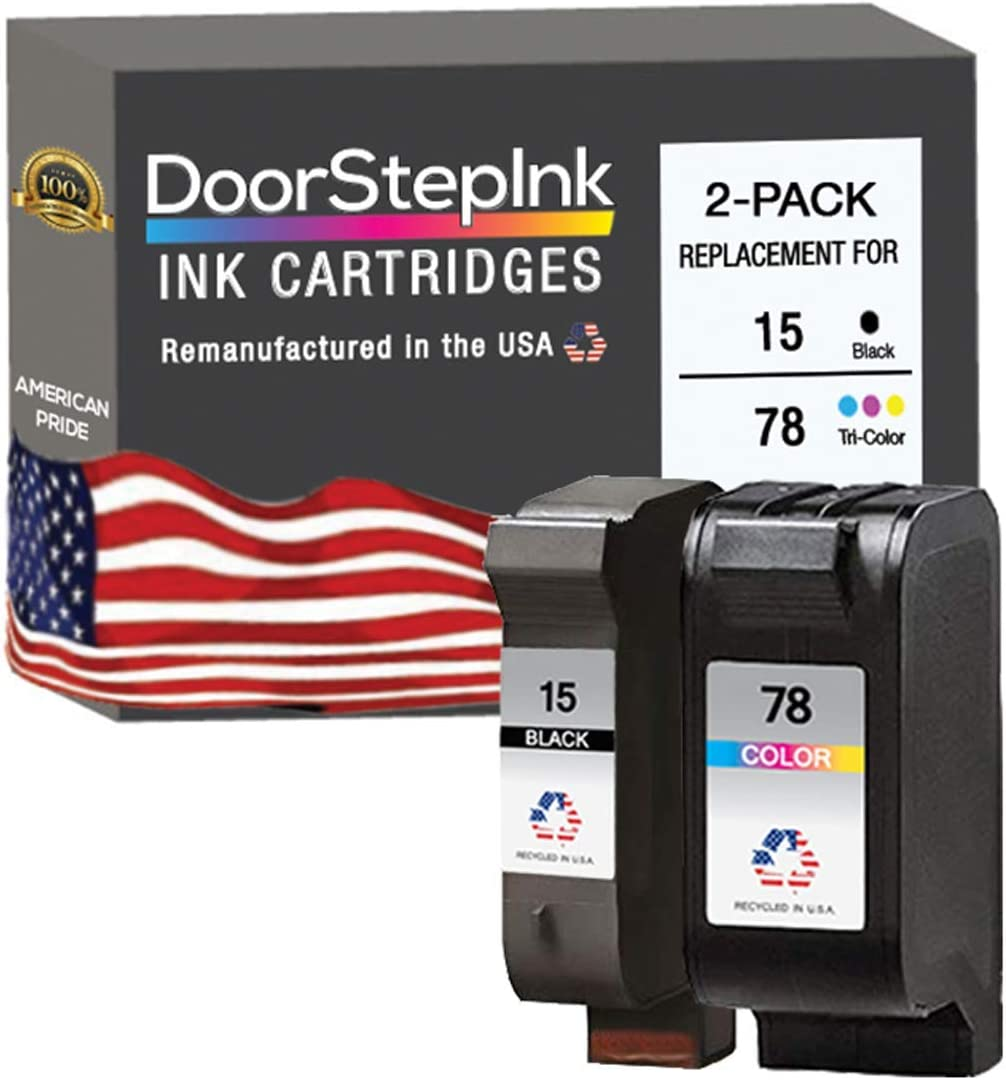 DoorStepInk Remanufactured in The USA Ink Cartridge Replacements for HP 15 C6615DN and HP 78 C6578AN Black and Color Combo Pack for HP DeskJet 920C, 940C, 940cvr, 3810r