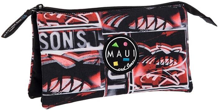 Maui and Sons Maui Shark Estuche de Tres Compartimentos, Color Rojo: Amazon.es: Equipaje