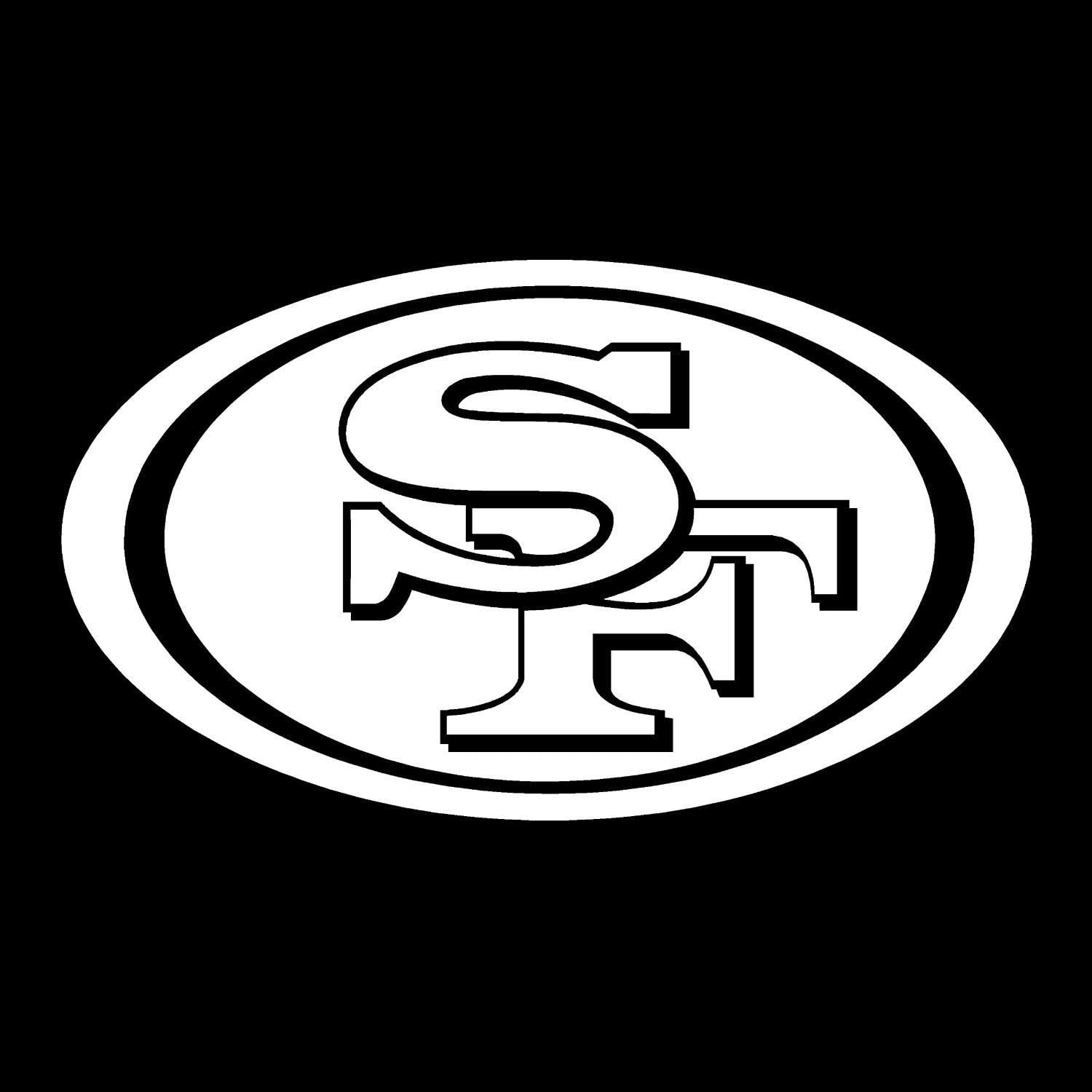 Amazon Com Sf 49ers Logo Vinyl 5 Wide Color White Decal Laptop Tablet Skateboard Car Windows Sticker Exclusively By So Cool Stuff Computers Accessories