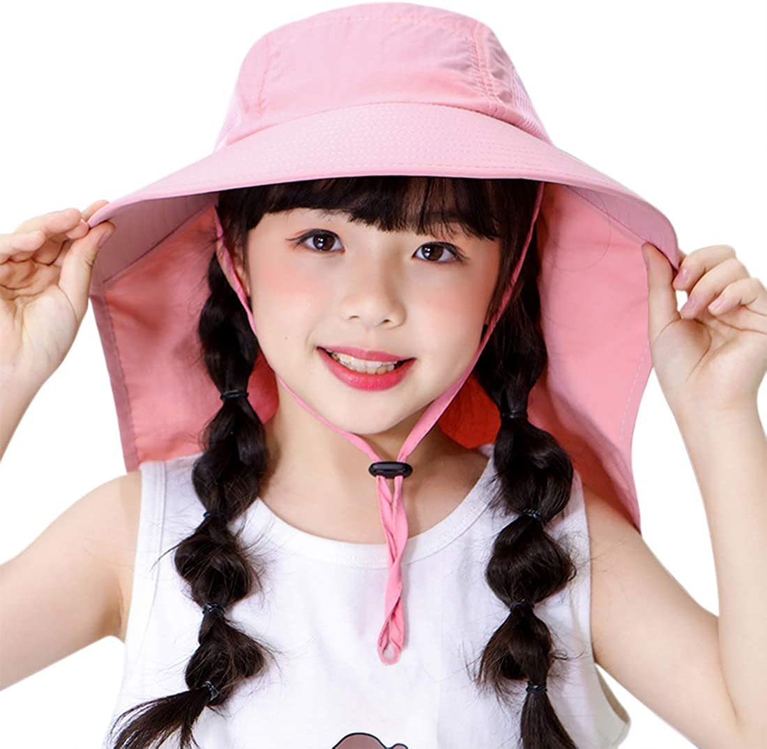 Muryobao Kids Child Girls Boys Summer Sun Hats UV Protection Cap for Beach Fishing Hat with Neck Flap Ages 4-12